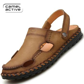 骆驼动感沙滩鞋两用凉拖鞋男鞋真皮包头凉鞋YX3016