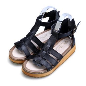 哈韩凉鞋女欧美松糕厚底潮女鞋搭扣平底大码学生女鞋