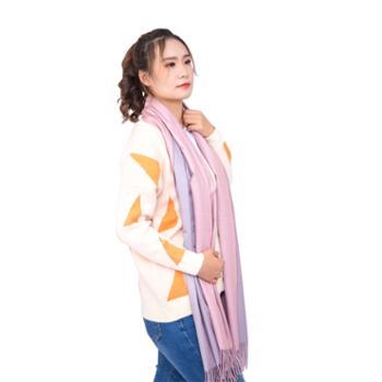 戎立特女士羊绒羊毛双面围巾披肩GWJ309