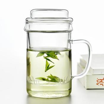 谁美茶杯带把办公室玻璃杯男士家用带盖透明水杯过滤杯子花茶杯yj
