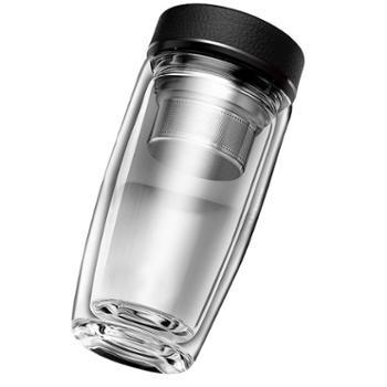 谁美 双层玻璃杯 男士便携水杯保温随手防摔家用过滤带盖隔热泡茶杯子