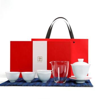 谁美玉泥影青清风旅行功夫茶具套装整套陶瓷办公家用盖碗茶席礼盒套组sjyw