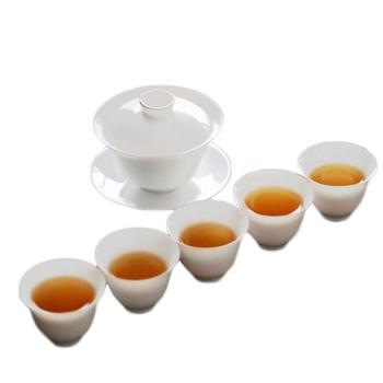 谁美景德镇玉泥瓷盖碗功夫茶具套装手工白瓷甜白紫金口礼盒