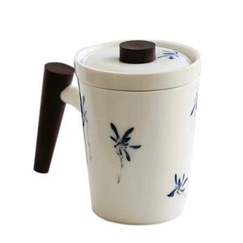 谁美德化白瓷猪油白手绘三件套家用茶杯