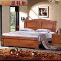 意特尔美国红橡木纯实木家具简约现代雕花床头双人床1.8米特价