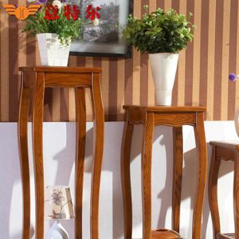意特尔老榆木全实木双层花架现代中式客厅落地木质花架子花几特价