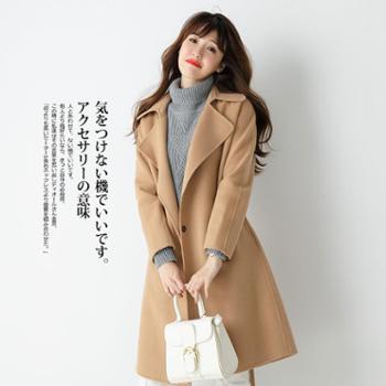 锦昂2017秋冬季呢子大衣中长款宽松显瘦系带毛呢外套女MXR17117