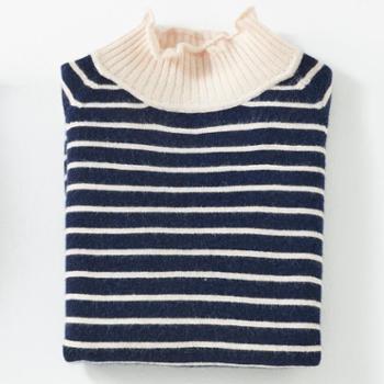 锦昂2017秋冬新款女士上衣半高领条纹保暖羊绒衫修身套头NX8022