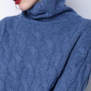 【善融年货节】锦昂秋冬新款高领羊绒衫女加厚宽松毛衣纯色套头大码麻花针织打底衫WY005