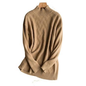 锦昂2017女士半高席编羊绒衫XSHL11707