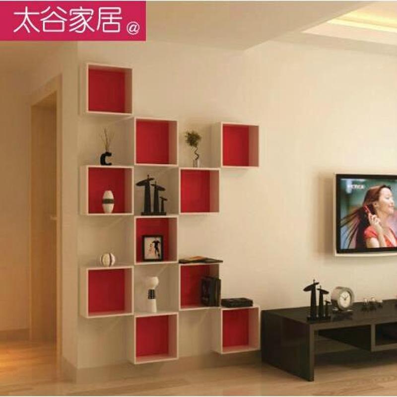 装饰架子墙上置物架电视墙创意书架 壁挂木质搁板墙壁图片
