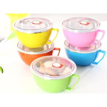 创意饭盒快餐杯 日系不锈钢饭盒 带手柄密封保鲜碗 实用双层多用碗