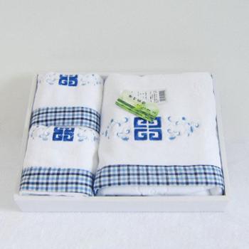 乐竹家纺 纯棉割绒毛巾浴巾礼盒套装 1条浴巾+2条毛巾 商务套装 清新大方 送手提袋