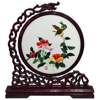 伊飞湘绣客厅装饰画双面绣桌面摆件纯手工刺绣产品尺寸36*37cm