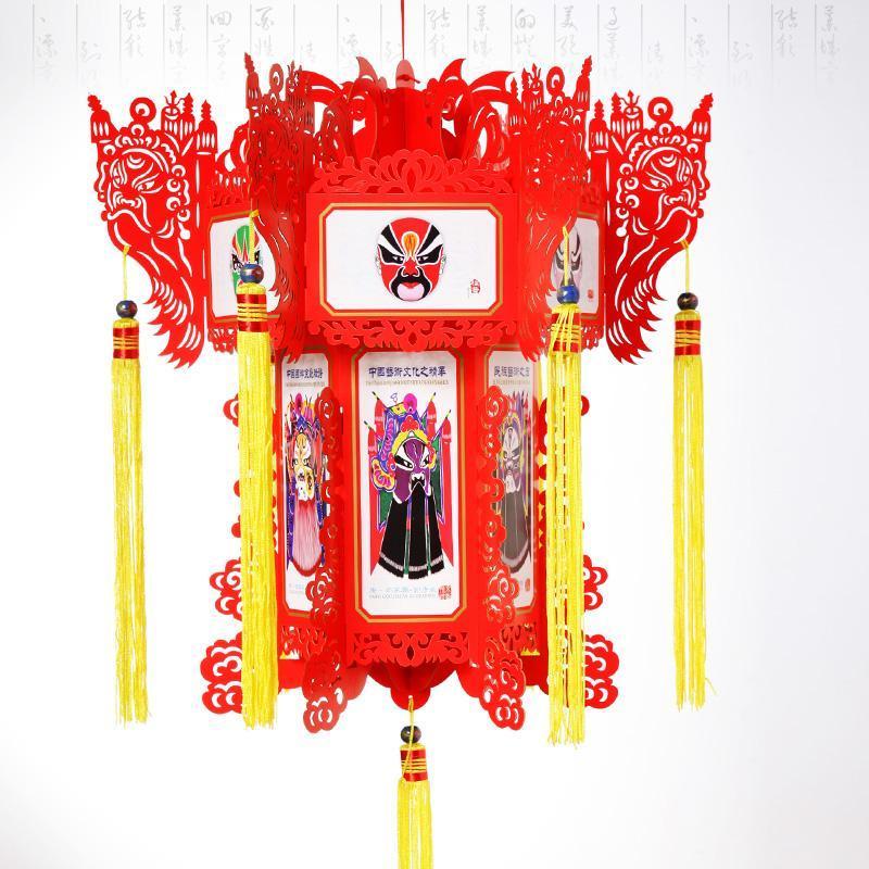 雕刻大红灯笼/京剧脸谱纸灯笼/家装饰民族风广告礼品