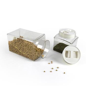 RUIYI锐益 四方形保鲜密封罐三件套 透明加厚食品储物罐
