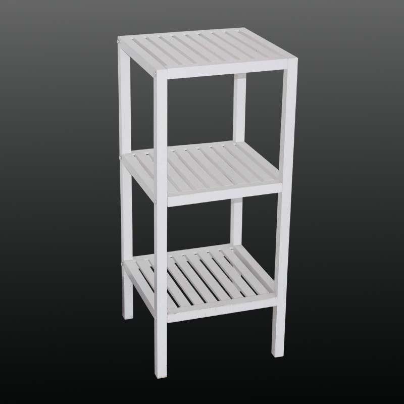 简约风格实木+mdf白色三层架/置物架/盆栽架