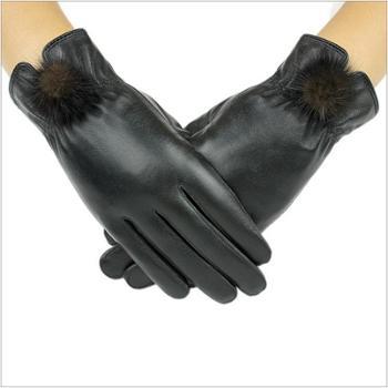 真皮貂球手套女羊皮手套加绒加厚保暖冬季女式骑行皮手套日用手套