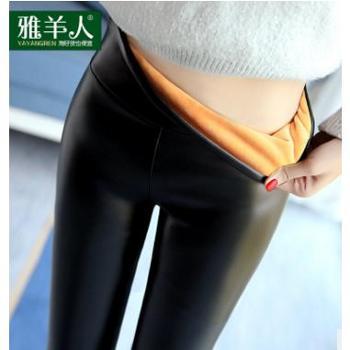 加绒pu皮裤女士冬季加厚外穿小脚秋冬款保暖紧身打底女裤显瘦高腰