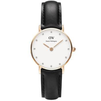 丹尼尔惠灵顿(Daniel Wellington)手表DW女表26mm表盘金色边皮带超薄女士石英手表0901DW