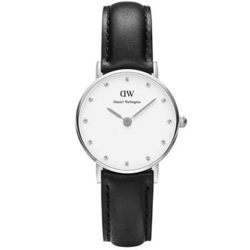 丹尼尔惠灵顿(Daniel Wellington)手表DW女表34mm银色边皮带超薄女士石英手表0961DW