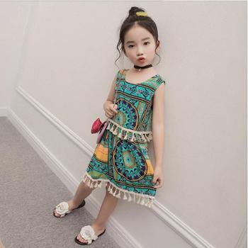 童装2017女童波西米亚风连衣裙无袖吊带民族风裙子度假小长裙