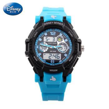 迪士尼 50米防水儿童运动电子手表 炫酷多功能双显表