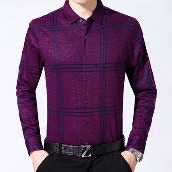 2017秋季新款男式格子长袖衬衫中年爸爸装格子男式衬衣