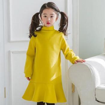 AD402童装春秋款中小童长袖连衣裙纯粉色荷叶边鱼尾设计女童裙