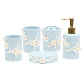 (日常生活浴室用品)创意浴室装饰样板间摆件陶瓷洗漱套件刷牙漱口杯五件套结婚礼品