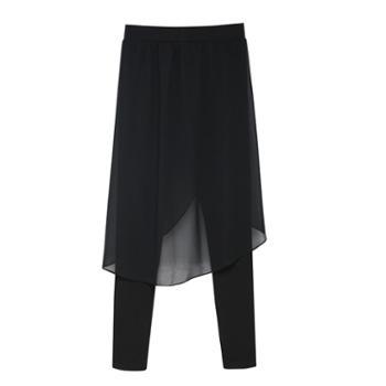 【亲春】韩版假两件莫代尔雪纺休闲裤【千盛百货】