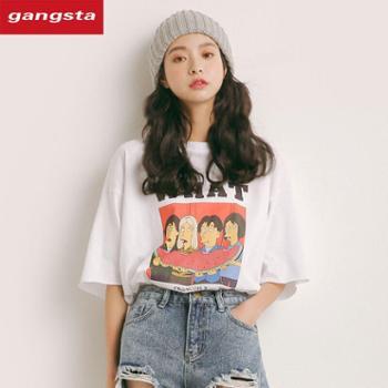 【gangsta】2018新款韩版宽松短袖纯棉t恤【千盛百货】M591