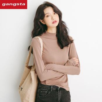 【gangsta】2019秋冬新品半高领套头纯色百搭修身长袖T恤女装上衣M520