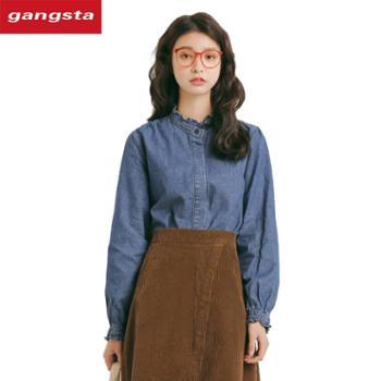 【gangsta】2018秋装新款女装chic纯色宽松牛仔衬衣长袖女式衬衫上衣【千盛百货】M870