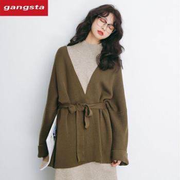 【gangsta】2018韩版女装纯色系带针织女式毛衣外套中长款宽松开衫【千盛百货】M619