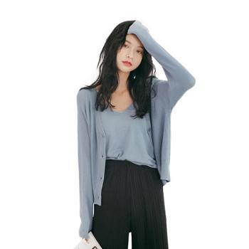 gangsta春装2019新款开衫两件套短款针织外套吊带女上衣F57