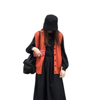gangsta2019秋冬chic学院风慵懒宽松韩版V领无袖针织马甲毛衣背心外套F211