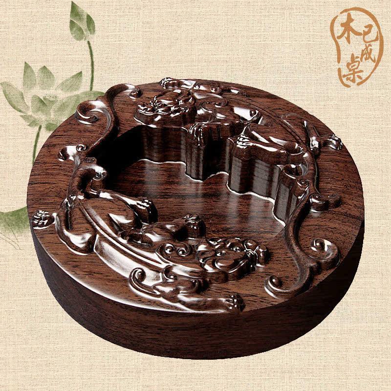 木已成桌 中式古典红木圆形大号烟灰缸实木烟灰缸 黑檀木烟灰盒
