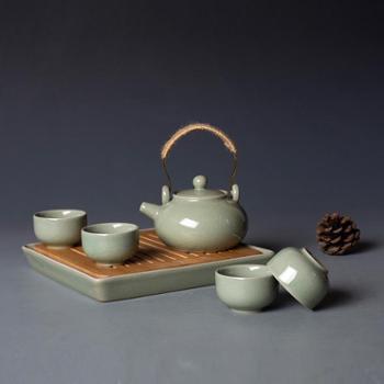 弘宝汝窑粉青釉幸福茶组套装礼盒包装便携旅行