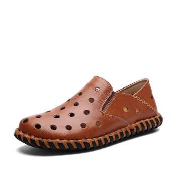 上匠风华 牛皮二层皮冲孔男子休闲单鞋 皮凉鞋6659