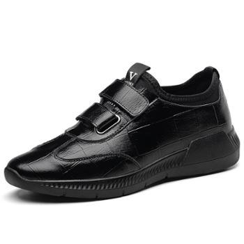 上匠风华二层皮男魔术贴单鞋8788