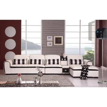 爱尚家具俬游记现代经典沙发组合进口皮3人位带贵妃位小茶几