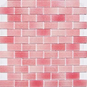 粉红色黑白灰渐变蒙砂玻璃马赛克厨房背景墙卫浴包邮