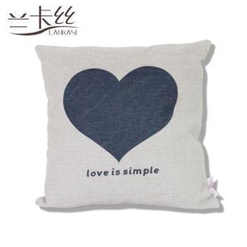 兰卡丝家纺 韩版方形亚麻棉腰枕休闲家居枕芯简约现代爱心靠枕420449