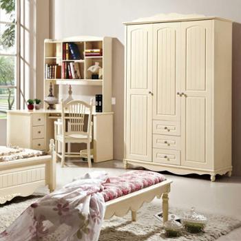 家居佳韩式田园三门衣柜板式带抽衣柜象牙白衣橱实木衣柜