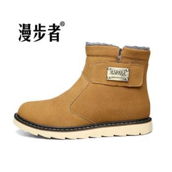 漫步者冬季加绒保暖男棉鞋英伦休闲高帮男靴反绒真雪地靴搭扣户外工装鞋cs-8811