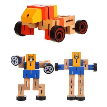 丽康创意木制机器人模型益智变形diy汽车玩具