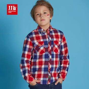 季季乐童装 时尚休闲格子男童衬衫 BQC61176