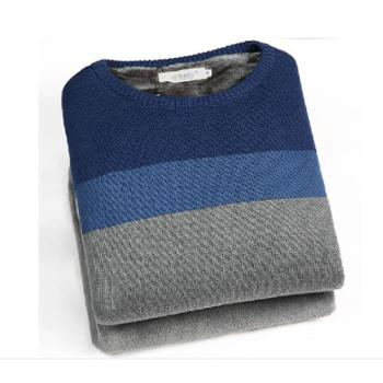 21thskon加绒加厚保暖男士毛衣韩版修身冬季针织衫圆领套头潮
