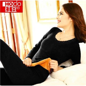 红豆女士莫代尔美体保暖内衣加厚加绒秋衣秋裤冬低领紧身打底套装